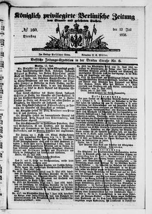 Königlich privilegirte Berlinische Zeitung von Staats- und gelehrten Sachen vom 13.07.1858