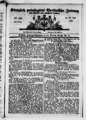 Königlich privilegirte Berlinische Zeitung von Staats- und gelehrten Sachen vom 20.07.1858