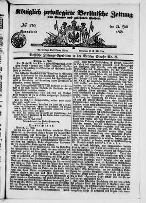 Königlich privilegirte Berlinische Zeitung von Staats- und gelehrten Sachen vom 24.07.1858