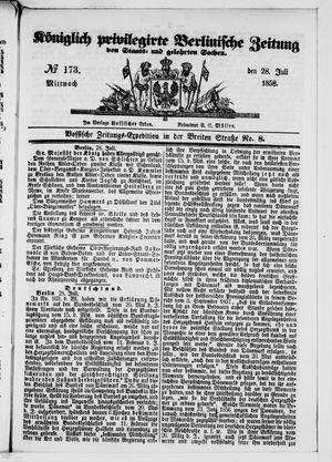 Königlich privilegirte Berlinische Zeitung von Staats- und gelehrten Sachen vom 28.07.1858