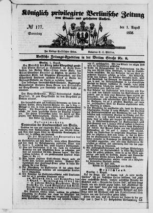 Königlich privilegirte Berlinische Zeitung von Staats- und gelehrten Sachen vom 01.08.1858