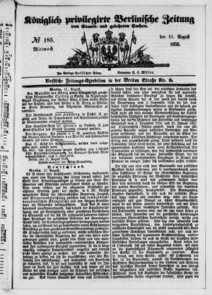 Königlich privilegirte Berlinische Zeitung von Staats- und gelehrten Sachen vom 11.08.1858