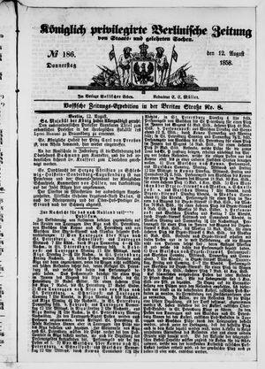 Königlich privilegirte Berlinische Zeitung von Staats- und gelehrten Sachen vom 12.08.1858