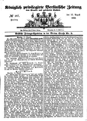 Königlich privilegirte Berlinische Zeitung von Staats- und gelehrten Sachen vom 13.08.1858