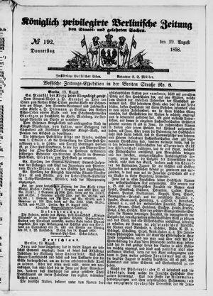 Königlich privilegirte Berlinische Zeitung von Staats- und gelehrten Sachen vom 19.08.1858