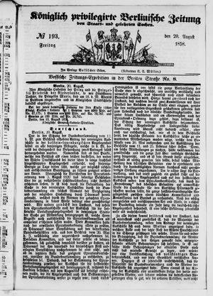Königlich privilegirte Berlinische Zeitung von Staats- und gelehrten Sachen vom 20.08.1858