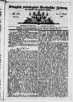 Königlich privilegirte Berlinische Zeitung von Staats- und gelehrten Sachen vom 27.08.1858