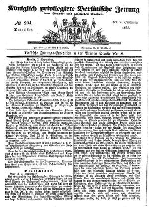 Königlich privilegirte Berlinische Zeitung von Staats- und gelehrten Sachen vom 02.09.1858