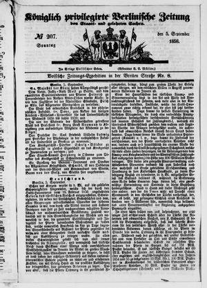 Königlich privilegirte Berlinische Zeitung von Staats- und gelehrten Sachen vom 05.09.1858