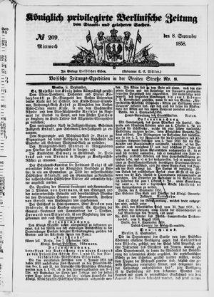 Königlich privilegirte Berlinische Zeitung von Staats- und gelehrten Sachen vom 08.09.1858