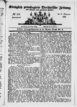 Königlich privilegirte Berlinische Zeitung von Staats- und gelehrten Sachen vom 11.09.1858