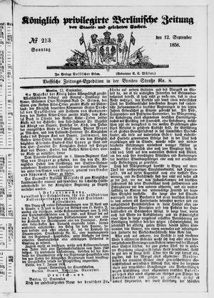 Königlich privilegirte Berlinische Zeitung von Staats- und gelehrten Sachen vom 12.09.1858