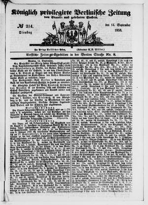 Königlich privilegirte Berlinische Zeitung von Staats- und gelehrten Sachen vom 14.09.1858