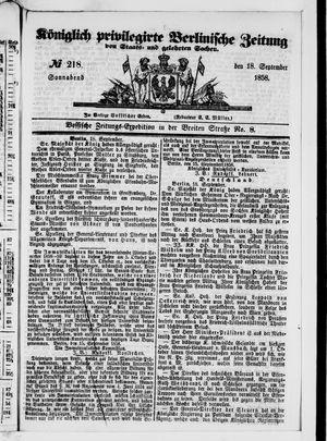 Königlich privilegirte Berlinische Zeitung von Staats- und gelehrten Sachen vom 18.09.1858