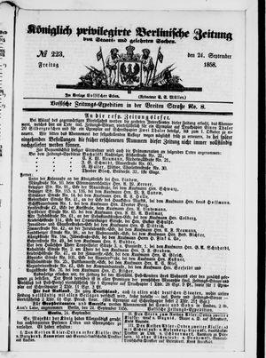 Königlich privilegirte Berlinische Zeitung von Staats- und gelehrten Sachen vom 24.09.1858