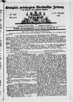 Königlich privilegirte Berlinische Zeitung von Staats- und gelehrten Sachen vom 29.09.1858
