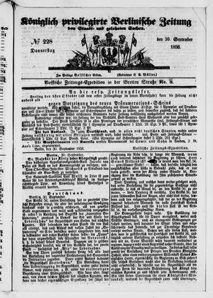 Königlich privilegirte Berlinische Zeitung von Staats- und gelehrten Sachen vom 30.09.1858