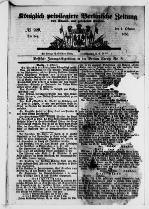 Königlich privilegirte Berlinische Zeitung von Staats- und gelehrten Sachen vom 01.10.1858