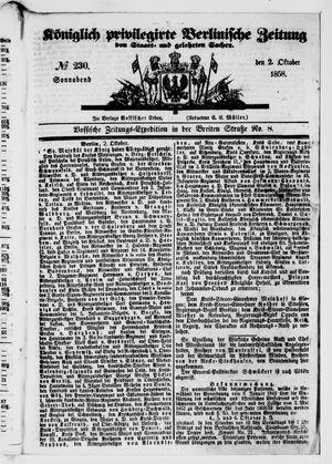 Königlich privilegirte Berlinische Zeitung von Staats- und gelehrten Sachen vom 02.10.1858