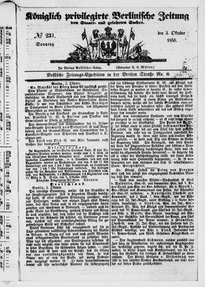 Königlich privilegirte Berlinische Zeitung von Staats- und gelehrten Sachen vom 03.10.1858