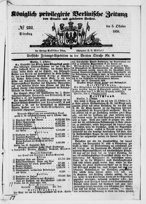 Königlich privilegirte Berlinische Zeitung von Staats- und gelehrten Sachen vom 05.10.1858