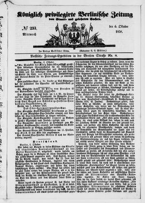 Königlich privilegirte Berlinische Zeitung von Staats- und gelehrten Sachen vom 06.10.1858