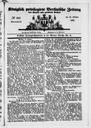 Königlich privilegirte Berlinische Zeitung von Staats- und gelehrten Sachen vom 16.10.1858