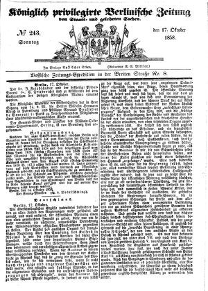 Königlich privilegirte Berlinische Zeitung von Staats- und gelehrten Sachen on Oct 17, 1858