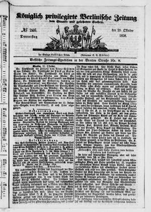 Königlich privilegirte Berlinische Zeitung von Staats- und gelehrten Sachen vom 21.10.1858