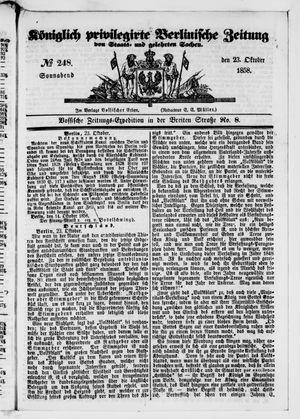 Königlich privilegirte Berlinische Zeitung von Staats- und gelehrten Sachen vom 23.10.1858