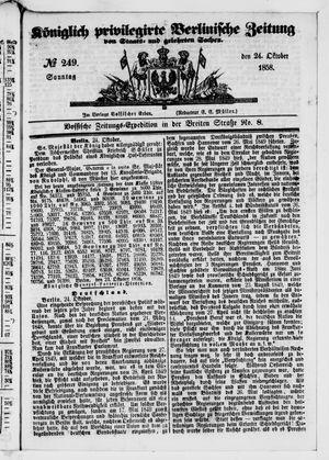 Königlich privilegirte Berlinische Zeitung von Staats- und gelehrten Sachen vom 24.10.1858