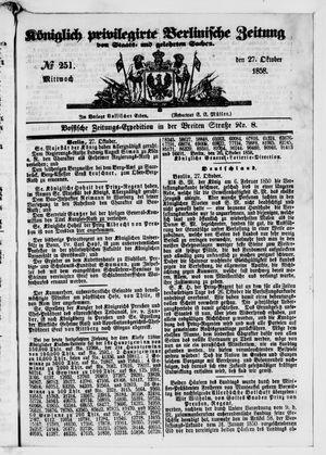 Königlich privilegirte Berlinische Zeitung von Staats- und gelehrten Sachen vom 27.10.1858