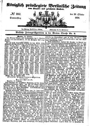 Königlich privilegirte Berlinische Zeitung von Staats- und gelehrten Sachen on Oct 28, 1858