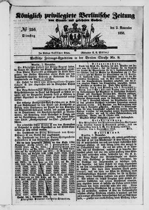 Königlich privilegirte Berlinische Zeitung von Staats- und gelehrten Sachen vom 02.11.1858
