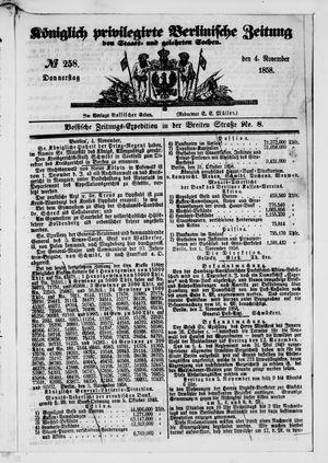 Königlich privilegirte Berlinische Zeitung von Staats- und gelehrten Sachen on Nov 4, 1858