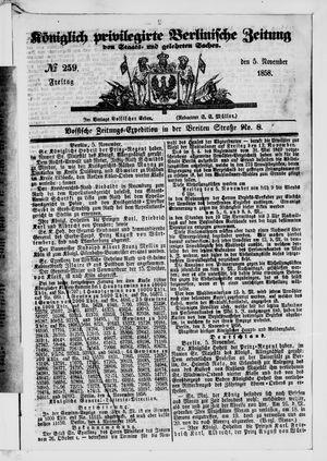 Königlich privilegirte Berlinische Zeitung von Staats- und gelehrten Sachen vom 05.11.1858