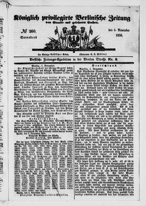 Königlich privilegirte Berlinische Zeitung von Staats- und gelehrten Sachen vom 06.11.1858