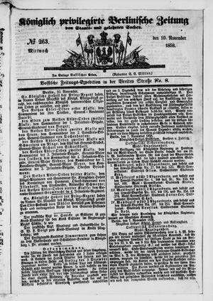 Königlich privilegirte Berlinische Zeitung von Staats- und gelehrten Sachen vom 10.11.1858
