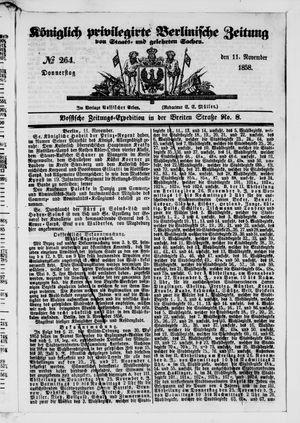 Königlich privilegirte Berlinische Zeitung von Staats- und gelehrten Sachen vom 11.11.1858