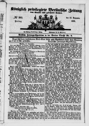 Königlich privilegirte Berlinische Zeitung von Staats- und gelehrten Sachen vom 12.11.1858