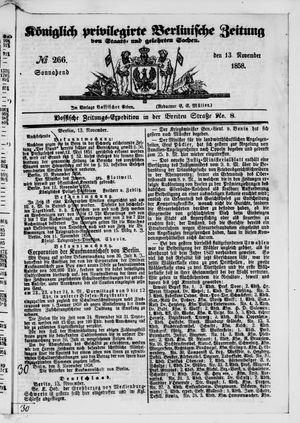 Königlich privilegirte Berlinische Zeitung von Staats- und gelehrten Sachen vom 13.11.1858