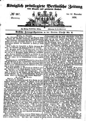 Königlich privilegirte Berlinische Zeitung von Staats- und gelehrten Sachen vom 14.11.1858