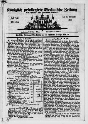 Königlich privilegirte Berlinische Zeitung von Staats- und gelehrten Sachen vom 16.11.1858
