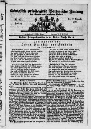Königlich privilegirte Berlinische Zeitung von Staats- und gelehrten Sachen vom 19.11.1858