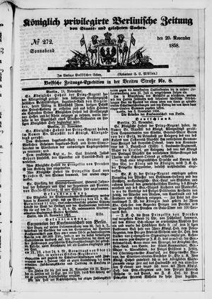 Königlich privilegirte Berlinische Zeitung von Staats- und gelehrten Sachen vom 20.11.1858