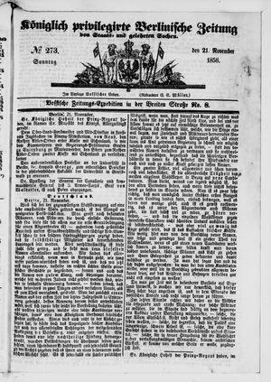 Königlich privilegirte Berlinische Zeitung von Staats- und gelehrten Sachen vom 21.11.1858