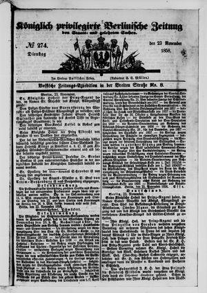 Königlich privilegirte Berlinische Zeitung von Staats- und gelehrten Sachen vom 23.11.1858