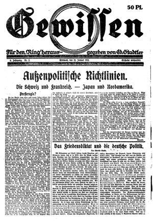 Gewissen vom 12.01.1921