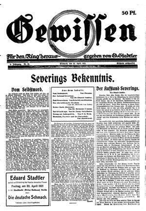 Gewissen vom 13.04.1921