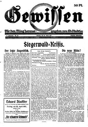 Gewissen vom 18.04.1921